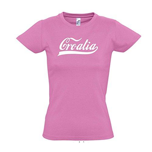 Damen T-Shirt - Kroatien Oldschool Croatia LÄNDERSHIRT EM/WM Fan Trikot S-XXL, Orchid pink - weiß, M