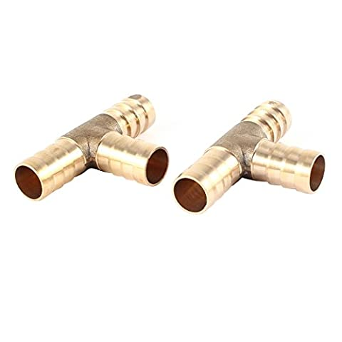 2 Pcs Gold Tone T Shaped 3 Way Air Hose Barb Coupler for 12mm Dia Pipe