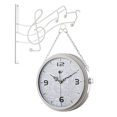 Double Sided Wall Clock (Eisenfarbe doppelseitige Wanduhr Wohnzimmer Uhr Schlafzimmer Gang Quarzuhr Stumm hängenden Tisch , B , 12 inch)