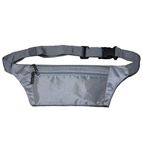 FEITONG Unisex Travel Hüfttasche Handliche Wandern Sporttasche Fanny Satz Taillen Gürtel Reißverschluss Beutel (Schwarz) Grau