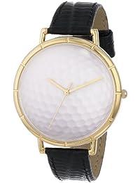 Drollige Uhren Golf Lover Schwarz und goldfarben, Unisex Quartz-Uhr mit weißem Zifferblatt Analog-Anzeige und N-0840009 Mehrfarbige Lederband