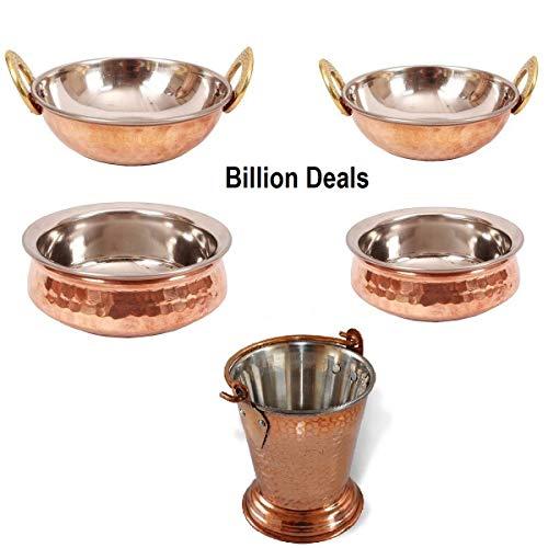 Billion Deals Indisches Kupfer Serviergeschirr 2 Handischalen 2 Kadai 1 Balti/Eimer Gemüseschale für indische Lebensmittel Geschenk gut für Gesundheit mit Metallreinigungspuder