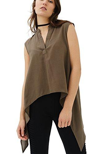 trueprodigy Casual Damen Marken Bluse einfarbig Basic, Hemdbluse cool und stylisch mit Stehkragen...