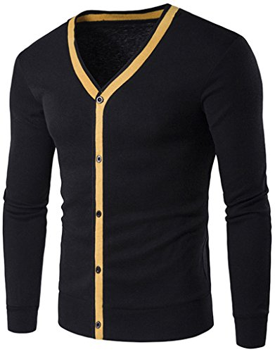 whatlees-unisex-hip-hop-mens-casual-contrast-button-down-zip-up-slim-cardigan-b342-black-m