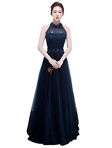 Beauty-Emily Maxi A-Linie Tüll-Halter-Korn-Ohne Arm gelegte Perle Gefaltete Luxuxquinceanera-Weißnachtskleid-Farbe Dunkelblau, Größe EU48 (Korn-linie)