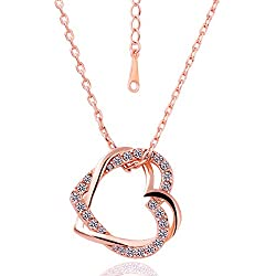 Yellow Chimes Embracing Hearts-in-Love 18K Real Rose Gold Plated Austrian Crystal Pendant for Girls