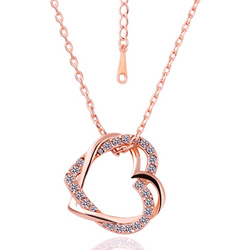 Embracing Hearts-in-Love 18K Rose Gold Plated Austrian Crystal Pendant for Girls by YELLOW CHIMES