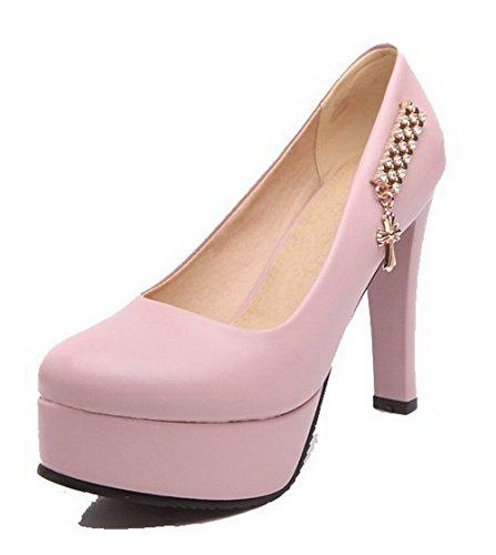 AgooLar Damen Rein PU Hoher Absatz Ziehen auf Rund Zehe Pumps Schuhe, Pink, 40