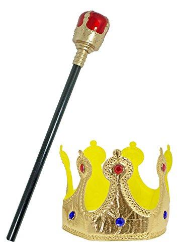 (Funny Fashion Krone und Zepter zum König Kostüm - Tolles Set zu Königin Herrscher Verkleidung Karneval, Mottoparty, Junggesellenabschied für Kinder und Erwachsene)