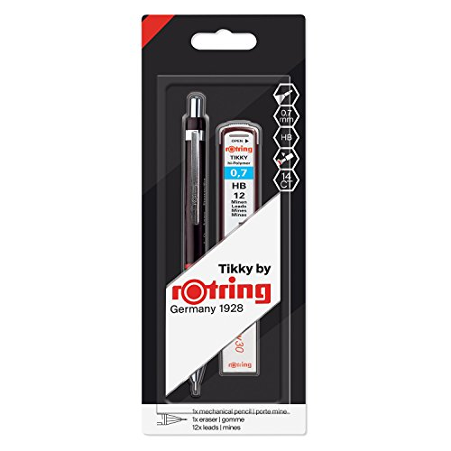 Rotring Tikky Black Barrel 0.70mm Mechanical Pencil, Spare Leads and Eraser