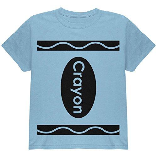 Blau Kostüm Crayon (Halloween Crayon Kostüm Jugend T Shirt hell blau)