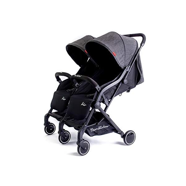 Familidoo Air Twin, Compact, Lightweight Double Pushchair, Grey Denim... Familidoo Lightweight compact double buggy, including an easy to operate one-handed fold Multi position backrest can be easily adjusted from upright to fully reclined for your little ones comfort Stylish aluminium frame with front and rear wheel suspension 1