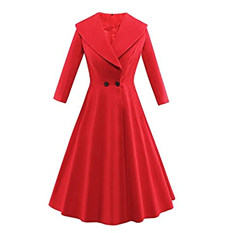 iLover Women's Wool 50s Vintage Hepburn Style Swing Party Cocktail Ball Gown Coat style Dress