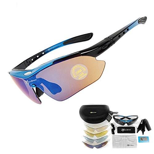 DKMMDWSSD Heiß!Rockbros Polarized Fahrrad Sonnenbrille Outdoor Sports Bike Clismo Rennrad MTB Sonnenbrille TR90 Schutzbrille Brille 5 Linse, Blau