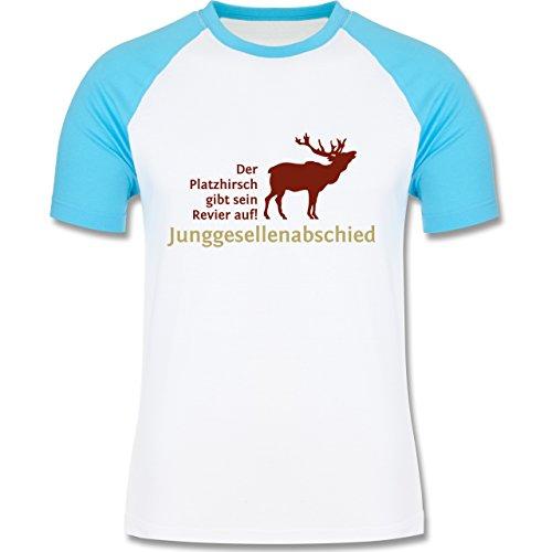 JGA Junggesellenabschied - Platzhirsch - zweifarbiges Baseballshirt für Männer Weiß/Türkis
