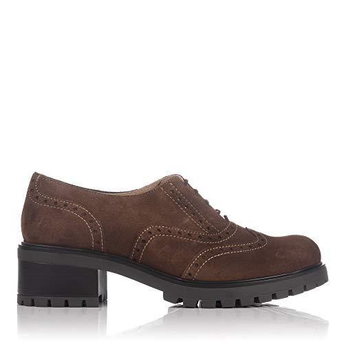 LINCE 83253 Zapato Cordones Ante Mujer CASTAÑA