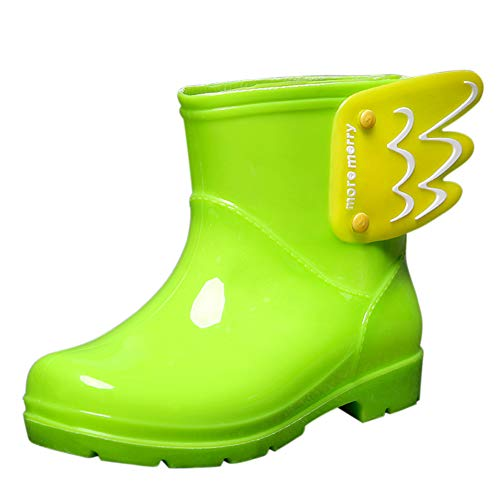 HOOH Toddler Wellington Boots Waterproof Rubber Candy Color Unisex Kids Wing with Detachable Cotton Lined Winter Snow Boots