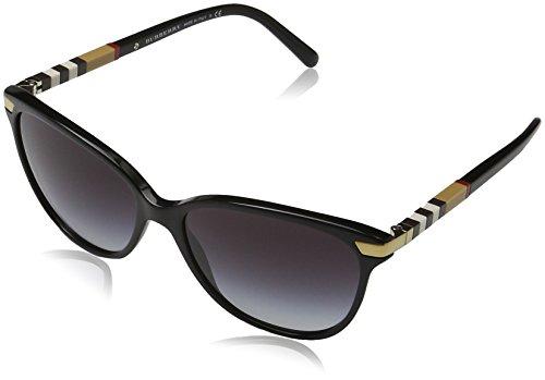 Burberry Unisex BE4216 Sonnenbrille, Gestell: schwarz, Gläser: grau-verlauf 30018G), Large (Herstellergröße: 57)