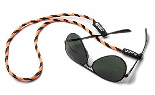 Original Lanyards® stylisches Brillenband mit dehnbaren Gummischlaufen in 6 Farben erhältlich - (Made In Portugal) Orange/Schwarz (Dehnbaren Material)