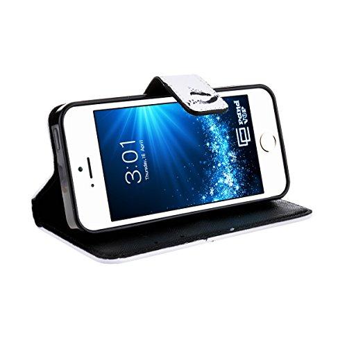 GrandEver Flip Leder Phone Holster für Apple iPhone 5 5S 5G Wallet Case Handy Tasche mit Standfunktion und Karten Slot PU Ledertasche Lederhülle Flip Hülle Bookstyle Protektiv Kunstleder Schutzhülle f Feder und Vogel