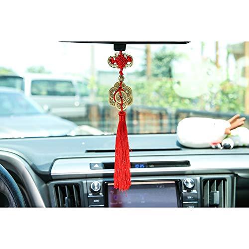 nieliangw0q Hängedeko fürs Auto, chinesischer Knoten, antikes Kupfer, Glücksbringer, Auto-Dekoration, Innendekoration