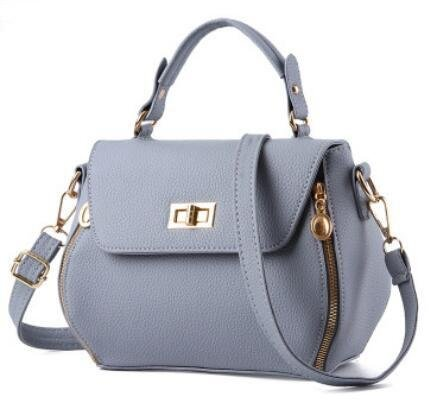 LDMB Damen-handtaschen PU-Leder Koreanisch Stereotypen Frau Schulter Messenger Tasche kleines Quadrat-Paket light gray