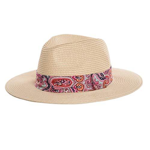 Fenside Country Clothing - Sombrero de Paja para Mujer con Estampado de Cachemira Rosa Rosa Talla única