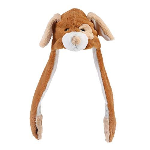 Aolvo lustige Plüschhut mit Tiermotiv und Tiermütze für den Winter, kann Das Ohr nach Oben bewegt Werden, wenn die Pfotenabdrücke gedrückt Werden. - Hund Kostüme Erwachsene Uk