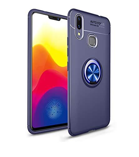 CHENYING Funda Xiaomi Mi MAX 3,Ultra Slim Silicona TPU Carcasa Anti-Arañazos y Antideslizante Cover Case,[360°Metal Rotating Ring Compatible con Magnetic Car Mount],para Xiaomi Mi MAX 3,Azul&Azul