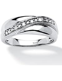 Palm Beach Jewelry - Anneau en argent sterling platiné - diamant - homme