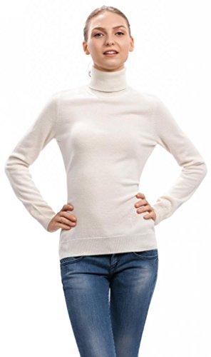 Pull Col Roulé Femme - 100% Cachemire - par Citizen Cashmere Blanc