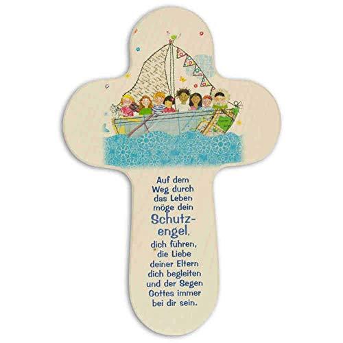 kruzifix24 Devotionalien Kinderkreuz Motiv Kinder im Boot & Text Auf dem Weg Holz Taufkreuz Geburt 16 x 10,5 cm