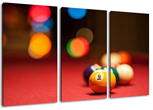 Billardkugeln Format: Dreiteiler Gesamt 120x80, Bild auf Leinwand bespannt, riesige XXL Bilder komplett und fertig gerahmt mit Keilrahmen, Kunstdruck auf Wand Bild mit Rahmen, günstiger als Gemälde oder Bild, kein Poster oder Plakat