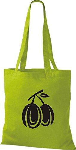 ShirtInStyle Stoffbeutel Baumwolltasche Dein Lieblings Obst und Gemüse Pflaumen Farbe Pink kiwi