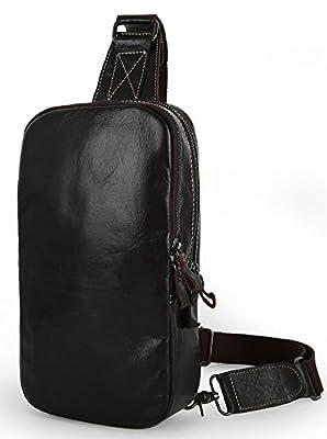 Everdoss Hommes sac de messager en cuir véritable sac banane de vogue sac de poitrine sac de loisirs