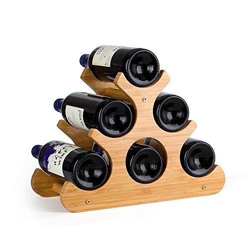 Komost Bambus Weinregal, Tischplatte Weinregal, Arbeitsplatte Display Wein Halter, natürliche Feste Bambus Weinflasche Organizer für Home Kitchen Bar -