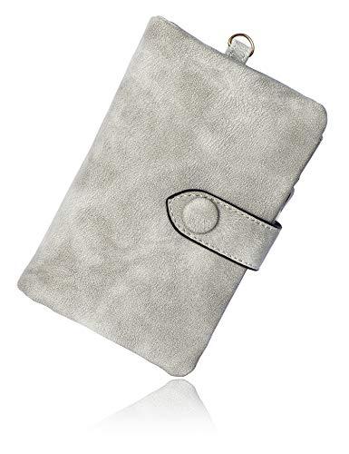 Conisy portafoglio donne in pelle morbido elegante compatto portatile corto borsellino per signore (grigio)