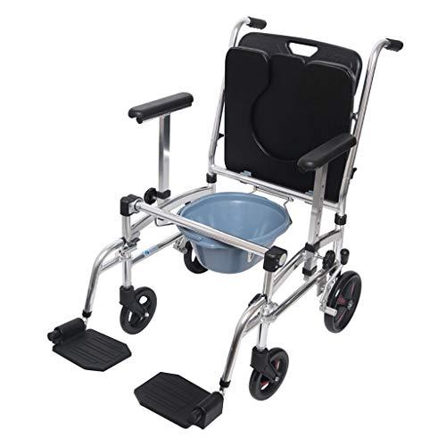 EGCLJ Transport Chair Commode, Mobiler Rollwagen Mit Gepolstertem Sitz, Bremsen Und Fußstützen - Hemiplegia Rehabilitation Faltbarer Toilettenstuhl -