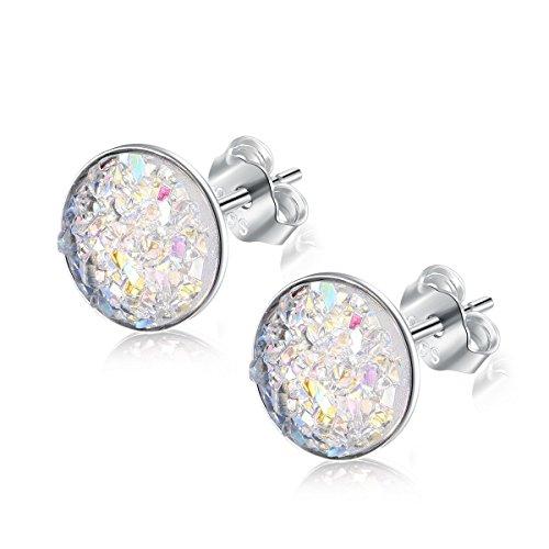 925 Sterling Silber Ohrstecker Runde Druzy Ohrringe mit Brillant Stein für Damen Herren 4 Farboptionen ⌀8,0mm (Weiß) (Herren Ohrringe Ohrstecker Kristall)