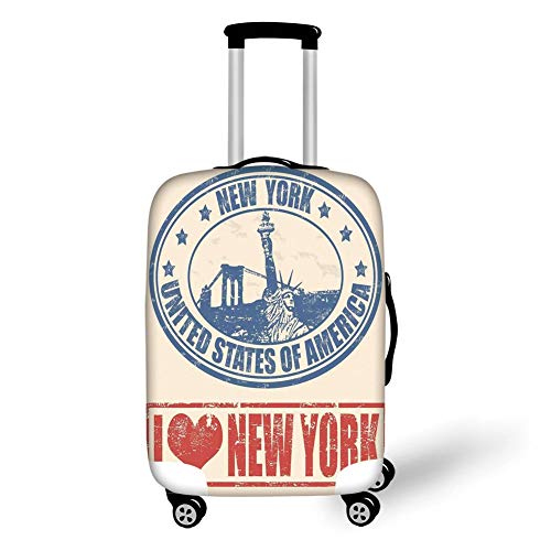 Travel Luggage Cover Suitcase Protector,Retro Poster,Vintage I Love New York with Statue of Liberty Grunge Rubber Stamps Design,Blue Orange,for Travel,M - Liberty Vintage Shorts