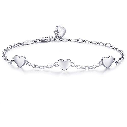BlingGem Pulsera del Corazón Hecho con Plata de ley 925 Plateado oro blanco Pulsera para mujer Presente para el Día de la Madre (Style 3)