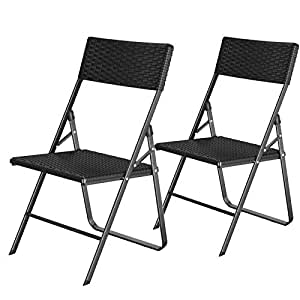 Miraculous Songmics Folding Chairs Set Of 2 Garden Chairs With Rattan Cjindustries Chair Design For Home Cjindustriesco