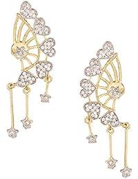Dancing Girl Kundans Stone Silver Metal Alloy Dangler Drop Earrings For Women