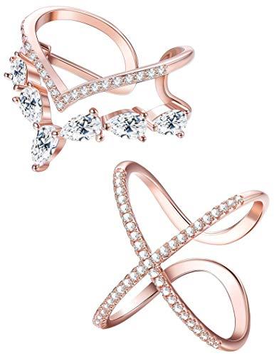 Milacolato 2 STÜCKE Rose Gold Ton Ringe für Frauen Zirkonia V Form Offene Ringe Einstellbare Kreuz Hochzeit Band Midi Ringe, L1 / 2-R1 / 2