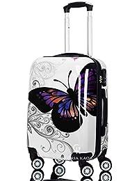 Trolley da Cabina 55 cm - Valigia rigida 4 Ruote in ABS Policarbonato Super Leggero - Approvato per Voli Come Easyjet & C. - Fantasia Farfalla (Butterfly-G 55 cm)