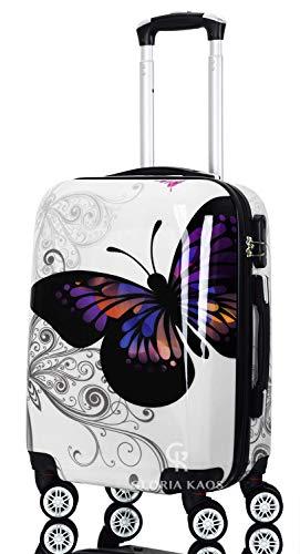 Cabin Suitcase 55 cm - Coque dure ABS Super Léger Avec Film de Protection Amovible - Bagage à Main Avec 4 Roues - Approuvé Pour les Compagnies Aériennes Comme Easyjet - Fantasy Papillon