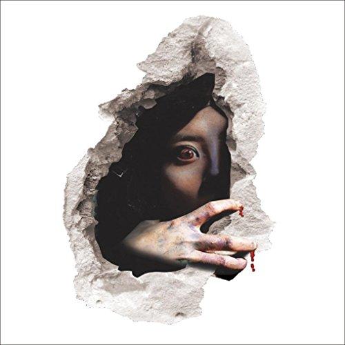 Xshuai Stilvolles glückliches schreckliches Halloween-Hausraum-Raum-Wand-Aufkleber-Wand-Dekor-Abziehbild entfernbarer Terror (Mehrfarben A: 60cm * 45cm B: 60cm * 45cm C: 60cm * 45cm D: 60cm * 45cm) (Halloween Raum Dekor)