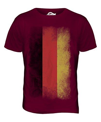 CandyMix Deutschland Verblichen Flagge Herren T Shirt Burgunderrot