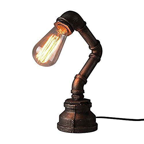 LCTCTD Vintage Industrial Eisen Wasser Rohre Tischlampe für Nachttisch Schreibtisch Studie Schlafzimmer, Wohnzimmer, Café, Bar (Steampunk)