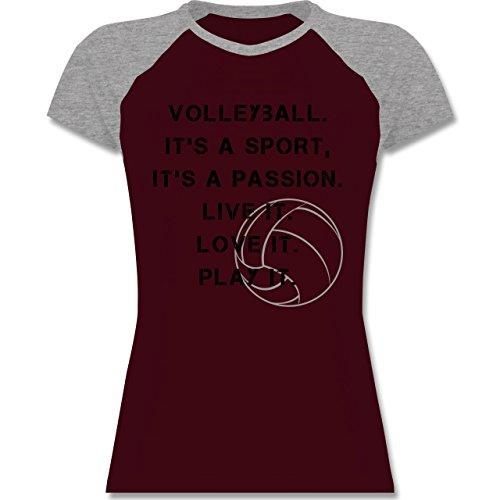 Shirtracer Volleyball - Volleyball Statement - Zweifarbiges Baseballshirt/Raglan T-Shirt für Damen Burgundrot/Grau meliert